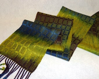 Hand Woven Tencel Scarf - Hand-dyed Scarf, Woven Scarf, Handwoven Scarf, Tencel Scarf, Purple,  Blue, Lime Scarf