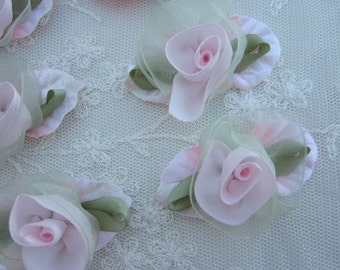 6 pc Pink Flower Applique Green Velvet Leaf Satin Organza Ribbon Baby Dog Bow Bridal Applique