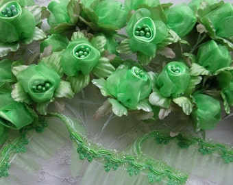 36pc Apple Green wired Satin Organza Pearl Rose Flower Applique Bridal Wedding Bouquet