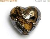 ON SALE 50% OFF Black w/Yellow Silver Foil Heart -11815205-Handmade Glass Lampwork Bead