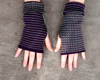 Arm Warmers Merino Mittens Striped Two-Sided Fingerless Gloves Unisex Muliticolor Purple and Green Women's Gloves