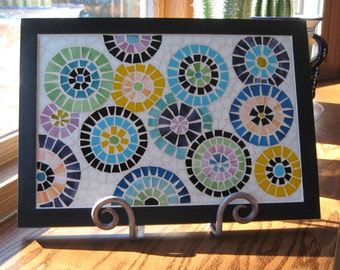Multi Color Stained Glass Mosaic Wall Art-Framed Mosaic Art-Home Decor-Wall Decor-Black Wall Art