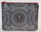 Skull Zipper pouch, cosmetic bag, makeup bag, organizer