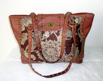 Isabella Fiore m size tote, dual strap satchel,shoulder bag, fall purse, thick  buttery soft  leather+ jacquard very clean vintage