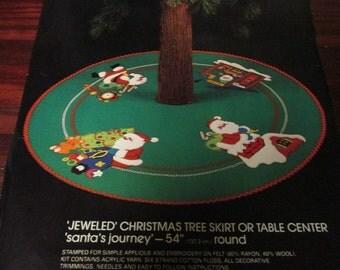 Bucilla Felt Kit Jeweled Christmas Tree Skirt Santa's Journey 48612 Vintage Kit Complete and Ready to Stitch