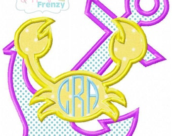 Anchor with Crab Summer Digital Embroidery Machine Applique Design File