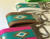 Key FOB, Triangle Key holder, Geometric Fabric, Cotton Webbing, KeyFob, KeyChain, Gold Ribbon,Teacher Gift, Mini and Wrist Keychain, Keyfob