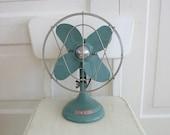 Vintage Metal Fan Blue Green Silver Retro Dominion Industrial Decor