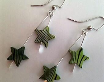 Green Star Earrings, Shooting Star Earrings, Green Zebra Shell and Silver Earrings, Green Zebra Stripe Mother of Pearl Earrings
