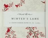 """Clearance!  Winter's Lane Collection Charm Pack Moda by Kate and Birdie 42 - 5"""" Squares OOP Hard to Find"""