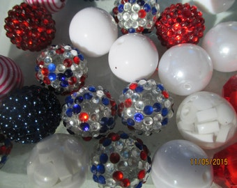 Patriotic 22  Gumball Chunky Beads   Red White Blue   20MM  Necklace Beads