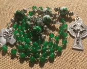 Handmade Emerald Green Agate and Porcelain Beaded Catholic Rosary, Custom Rosary, Rosary Necklace, One of a Kind Rosary