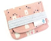 Birth Control Case, Birth Control Holder, Pill Sleeve, Pink and Gray, Birth Control Pouch, Castle Print, Pill Pouch, Pill Holder, Pill Case