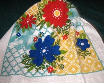 Crochet hanging towel, Red and Blue Flowers, Yellow crochet top