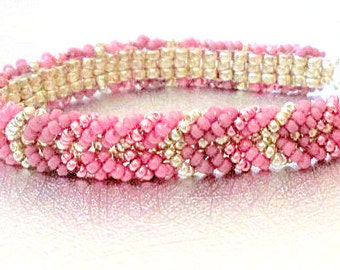 beadwork friendship bracelet pink bead jewelry seed bead beaded bracelet