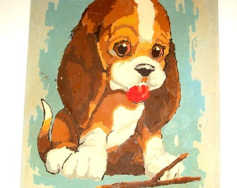 Vintage Paint By Number Dog Painting, Puppy Picture, Big Eyes, Wall Art  (183-16)