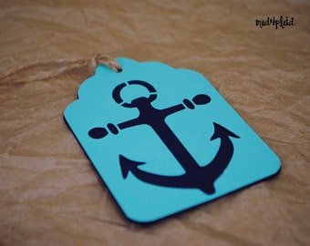 Set of 12 Nautical Anchor Wine or Bottle Tags, double sided, hand tied with jute twine, mad4plaid