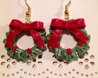 Christmas Wreath Polymer Clay Earrings