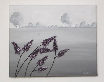 French Landscape Painting - String Art Gray with Purple Flowers Original Wall Art