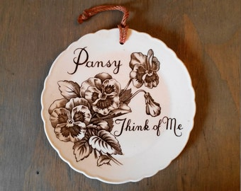 Vintage Royal Staffordshire Ceramics Pansy Flower Brown Transferware Wall Plaque, Floral Wall Art Interior Design