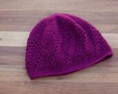Maroon Beanie - Crochet Lace Hat - Skull Cap - Boho Beanie