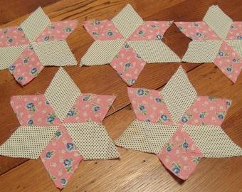 10 Vintage hand Pieced Quilt Blocks