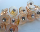 Vintage Buttons -13 matching transparent pink with rhinestones, old and sweet, acrylic, (feb 409B)