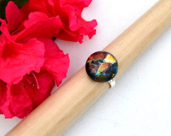 040 Fused dichroic glass ring, adjustable, silver plated, round, brown, gold, red, green