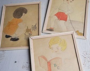 Trio Original Vintage Drawings 1950s Crayon Nursery Children Toys Kids Room Kittens Duck Teddy Bear Reading Framed Art