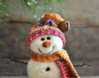 Snowman - handmade - needle felted- one of a kind -  729