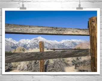Sierra Nevada, Mountains Photograph, Western Art, Rustic Art, Western Picture, Ranch Fence, Landscape Photograph, Ranch Art, Back Roads