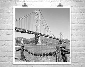 Golden Gate Bridge, Black and White, Photography, Fort Point, San Francisco Art, Square Art, Northern California, San Francisco Bay