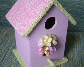 Springtime Lilac Painted Birdhouse