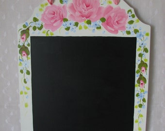 Tin Chalkboard Hand Painted Pink Roses Cottage chic home decor
