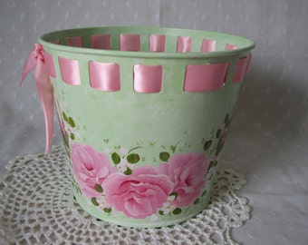 Metal Bucket Pail Mint Green Hand Painted Pink Roses Home Decor Gift Basket