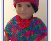 Made For American Girl Doll Josefina Colorful Poncho and Hat Set, Crochet 18 Inch Doll Clothes