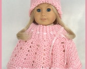 Doll Clothes Made To Fit American Girl Dolls, Crochet Poncho Set Pretty In Pink