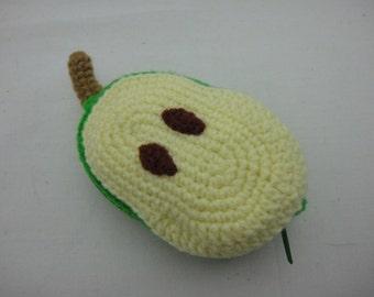 FREE SHIPPING Crochet Coin Small Purse - Pear Half