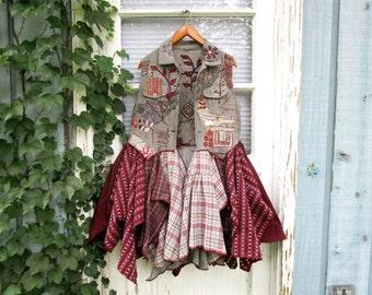 RESERVED Balance//OOAK Wearable Art Embellished Tweed Vest// Bohemian Gypsy// Medium Large// emmevielle