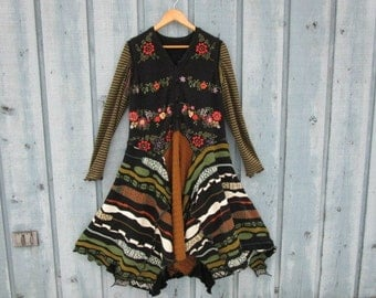 L-XL One of a Kind Black Multi Colored Embroidered Sweater Dress// Reconstructed// Upcycled// emmevielle