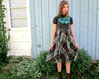 S-M Teal Brown Fabric Flower Plaid Upcycled Day Dress// Upcycled// emmevielle