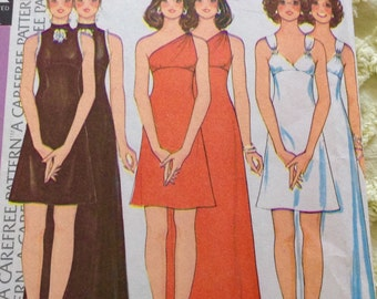 Vintage 70s 1973 McCalls 3839 Prom Disco Party Dress, jersey empire line, Classic 70s style, mini or maxi, 3 bodice variations, B36, Size 14
