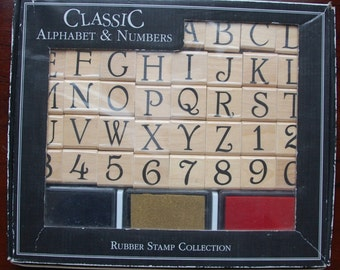 Classic Alphabet & Numbers Rubber Stamp Set (set of 36)