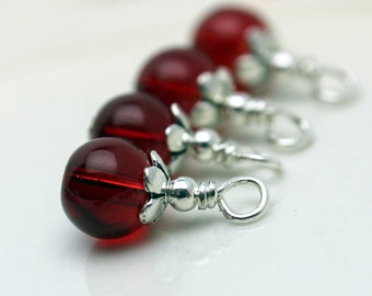 Red Glass and Silver Bead Dangle Drop Charm Set