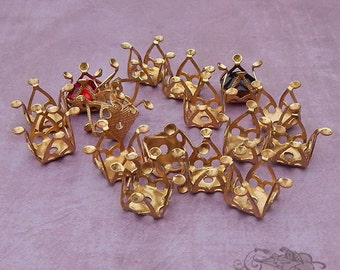 Oddball Vintage Brass Filigree Settings or Findings Multi Stone with Hole (6 pc)