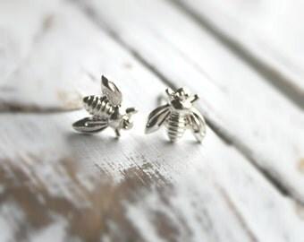 SALE. FREE SHIPPING. 14K Gold or Silver Plated Bee Earrings. Post Stud Earrings.