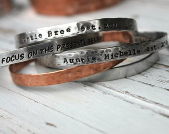FREE SHIPPING. Hand Stamped Cuff Bracelet. Silver Aluminum or Copper. Personalized