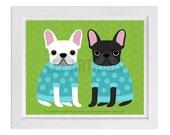 101D - Dog Print - Black and White French Bulldogs in Sweaters Wall Art - French Bulldog Print - French Bulldog Art - Dog Portrait - Dog Art