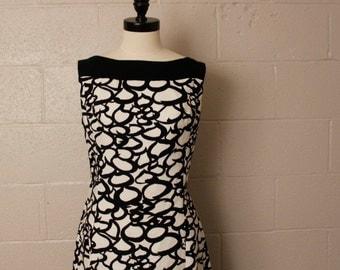 Vintage 1960's Black White MOD Maxi Cotton Dress Bust 38 M