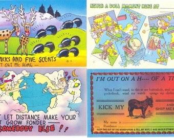 Linen Postcards - Set of Four - Humorous Lot 2
